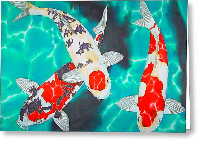 Water Garden Tapestries - Textiles Greeting Cards - Three Koi Greeting Card by Daniel Jean-Baptiste