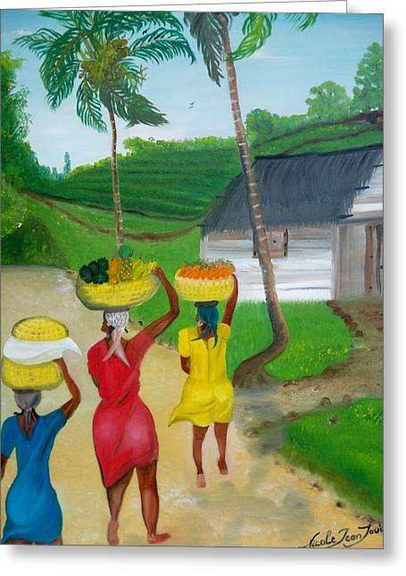 Mango Greeting Cards - Three Ladies Going To The Marketplace Greeting Card by Nicole Jean-louis