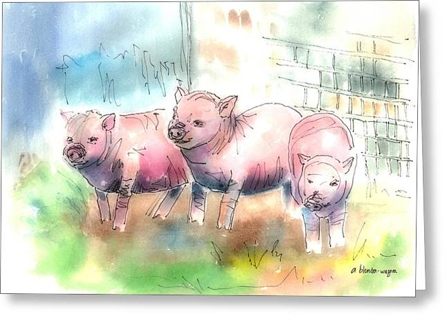 Piglets Mixed Media Greeting Cards - Three Little Pigs Greeting Card by Arline Wagner