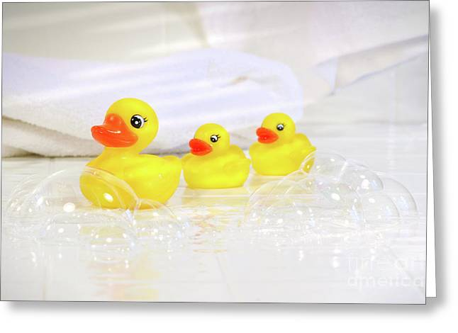 Ducky Greeting Cards - Three little rubber ducks Greeting Card by Sandra Cunningham