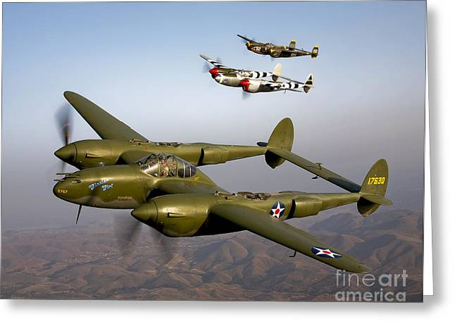 Three Speed Greeting Cards - Three Lockheed P-38 Lightnings Greeting Card by Scott Germain