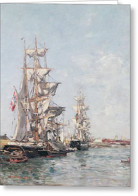 Boudin; Eugene Louis (1824-98) Greeting Cards - Three-masted Boats at the Quay in Deauville Harbour Greeting Card by Eugene Louis Boudin