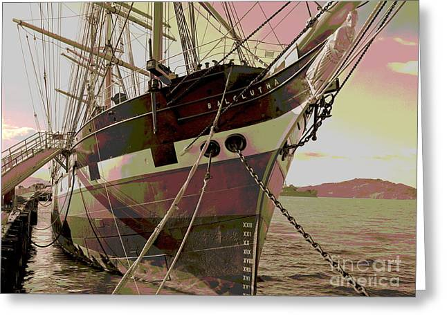 Historic Schooner Greeting Cards - Three Masted Schooner Balclutha Greeting Card by Padre Art