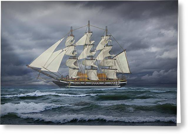 Schooner Art Greeting Cards - Three Masted Ship Greeting Card by Randall Nyhof