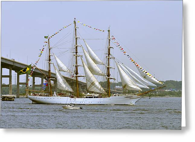 Historic Schooner Greeting Cards - Three Masted Tall Ship Greeting Card by John Franco