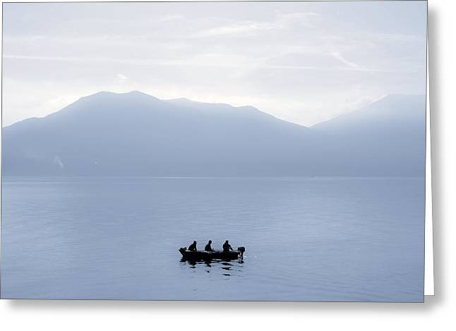 Motor Boats Greeting Cards - Three men in a boat Greeting Card by Joana Kruse