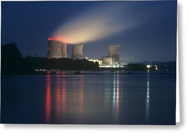 Meltdown Greeting Cards - Three Mile Island Nuclear Power Station Greeting Card by Martin Bond