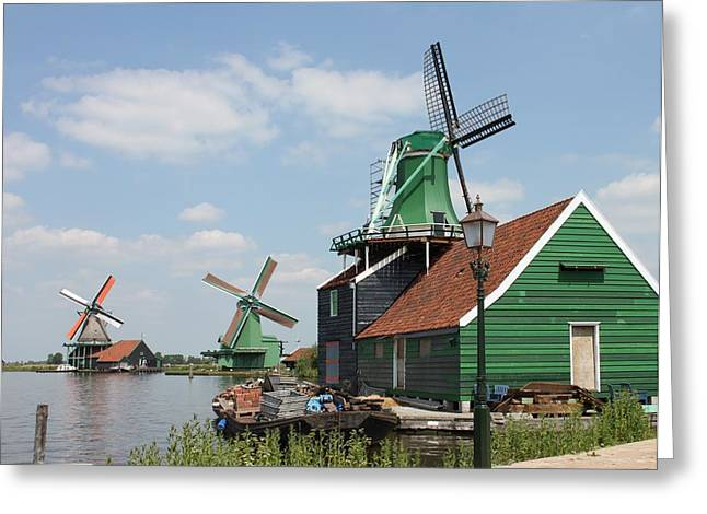 Zaans Greeting Cards - Three Mills Greeting Card by Jan Bronkhorst