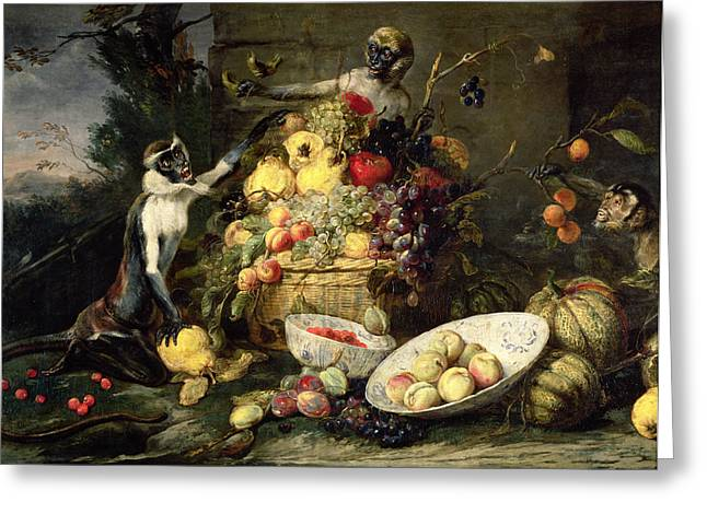 Melon Paintings Greeting Cards - Three Monkeys Stealing Fruit Greeting Card by Frans Snyders