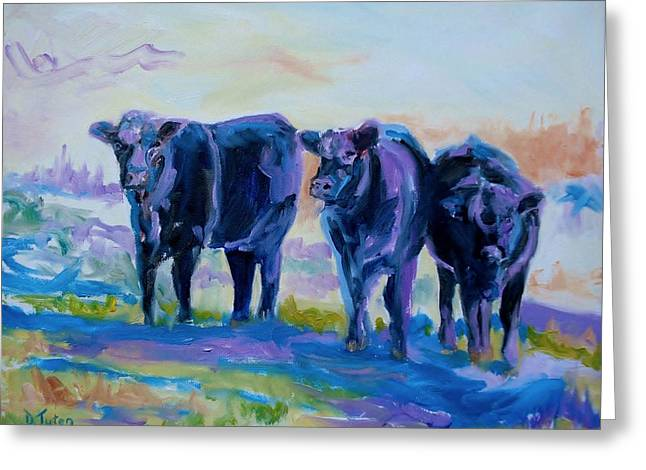 Three Cows Greeting Cards - Three Mooges Greeting Card by Donna Tuten