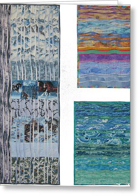 Winter Tapestries - Textiles Greeting Cards - Three Movements Greeting Card by Salli McQuaid