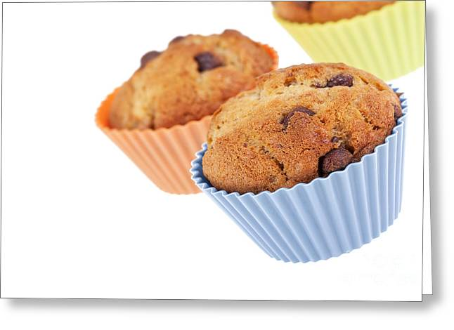 Sponge Greeting Cards - Three muffins Greeting Card by Jane Rix