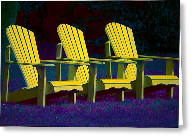 Andirondak Chairs Greeting Cards - Three Old Friends Greeting Card by Elisabeth Van Eyken