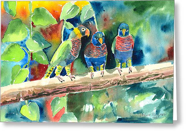 Parrot Paintings Greeting Cards - Three on a Branch Greeting Card by Arline Wagner