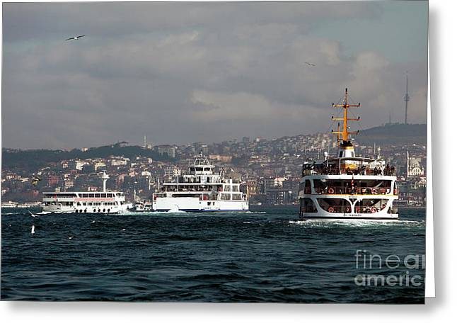 Gallery Three Greeting Cards - Three on the Bosphorus Greeting Card by John Rizzuto