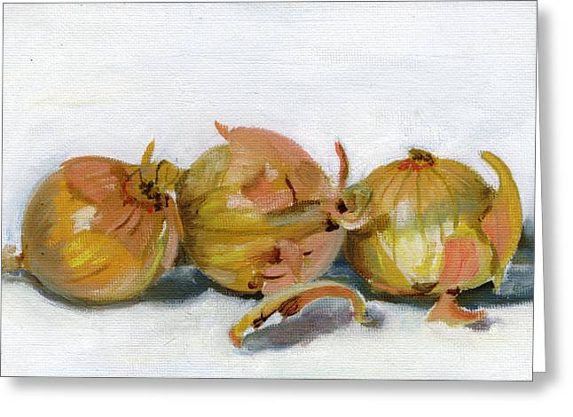 Beverage Greeting Cards - Three Onions Greeting Card by Sarah Lynch