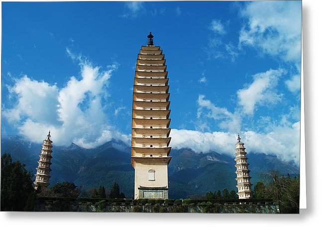 Jennifer Lam Greeting Cards - Three Pagodas Greeting Card by Jennifer Lam