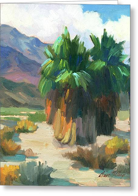 Verbena Greeting Cards - Three Palms Greeting Card by Diane McClary