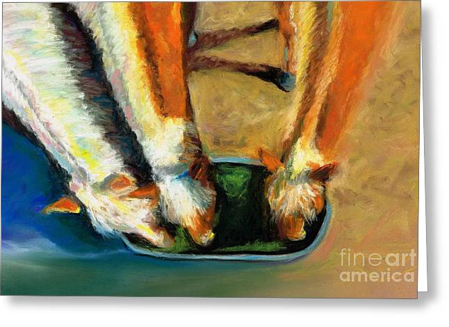 Western Western Art Pastels Greeting Cards - Three Palominos Greeting Card by Frances Marino