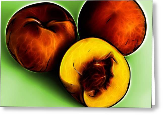 Three Peaches - Green Greeting Card by James Ahn