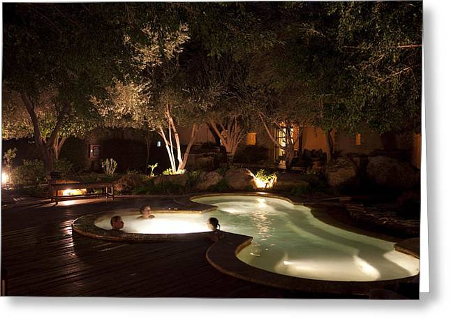 Serene People Greeting Cards - Three People Enjoy A Hot Tub On A Cool Greeting Card by Taylor S. Kennedy