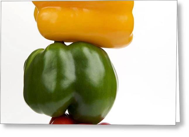 Three peppers Greeting Card by BERNARD JAUBERT