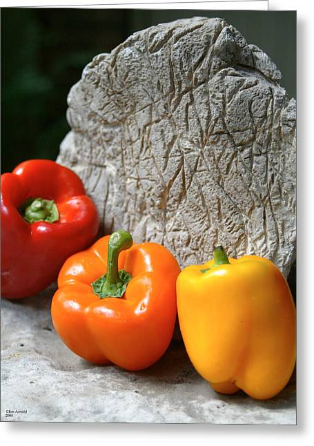 Three Peppers Greeting Card by Jim  Arnold