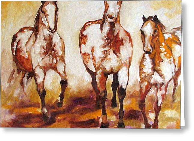 All American Greeting Cards - Three Pinto Indian Ponies Greeting Card by Marcia Baldwin