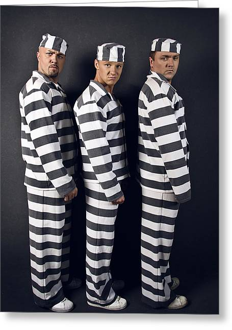Inquiry Greeting Cards - Three prisoners. Group of men in suits of convicts. Greeting Card by Kireev Art
