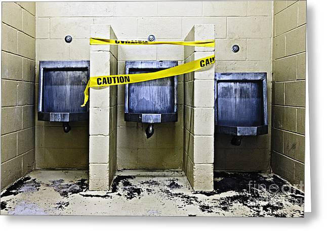 Urinal Greeting Cards - Three Public Urinals in Disrepair Greeting Card by Skip Nall