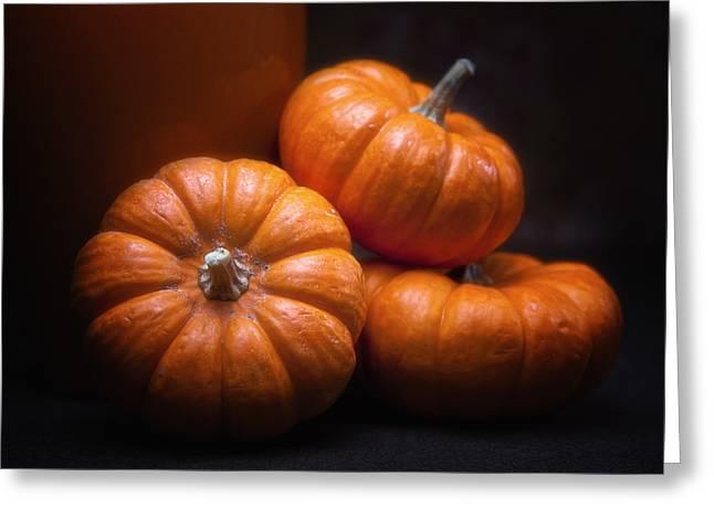 Harvest Art Greeting Cards - Three Pumpkins Greeting Card by Tom Mc Nemar