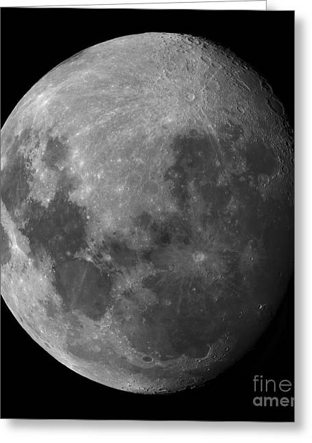 Mare Serenitatis Greeting Cards - Three Quarter Moon Greeting Card by Rolf Geissinger