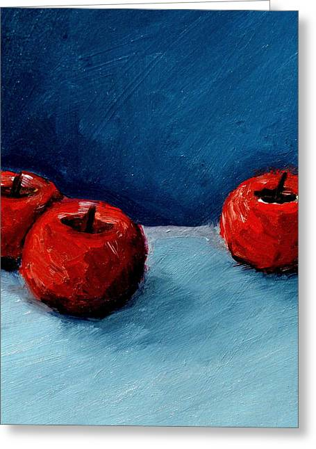 Michelle Greeting Cards - Three Red Apples Greeting Card by Michelle Calkins