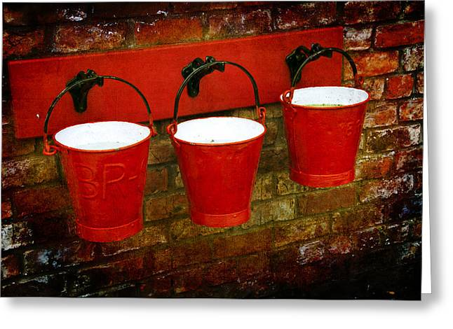 Hanging Baskets Greeting Cards - Three Red Buckets Greeting Card by Svetlana Sewell