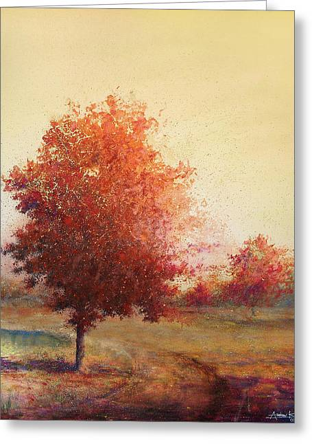 Autumn Landscape Paintings Greeting Cards - Three Red Trees Greeting Card by Andrew King
