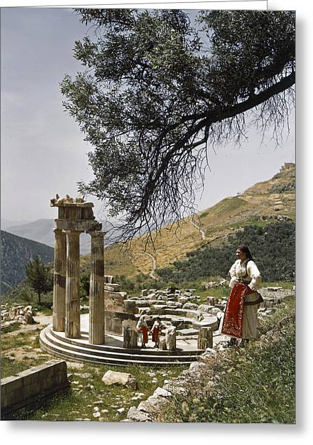 Temple Of Athena Greeting Cards - Three Restored Doric Columns Stand Greeting Card by B. Anthony Stewart