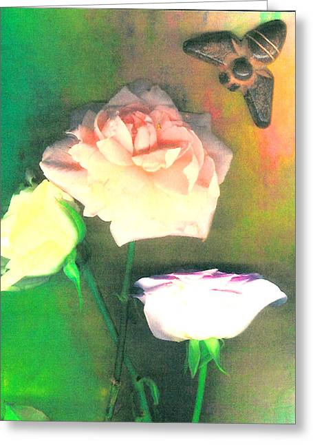 Visionary Artist Greeting Cards - Three Roses and a Bee Greeting Card by George  Page