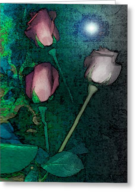 Visionary Artist Greeting Cards - Three Roses Greeting Card by George  Page