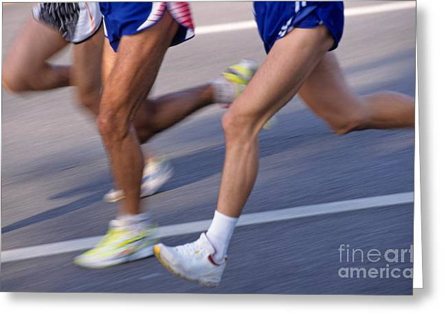 Three Speed Greeting Cards - Three runners Greeting Card by Sami Sarkis
