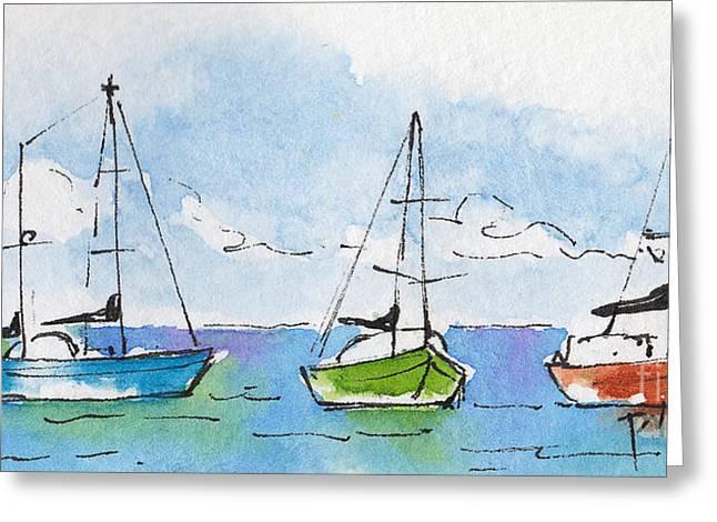 Pat Katz Greeting Cards - Three Sailboats Near Tahiti Greeting Card by Pat Katz