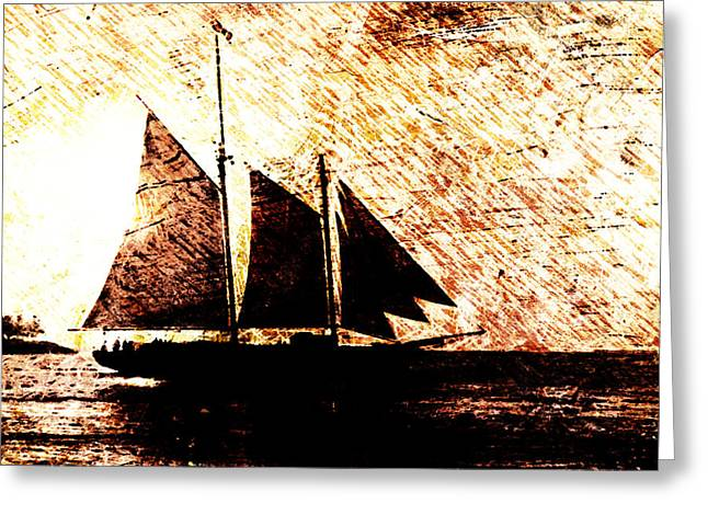 Seaside Digital Art Greeting Cards - Three Sails in Sunset Greeting Card by Andrea Barbieri