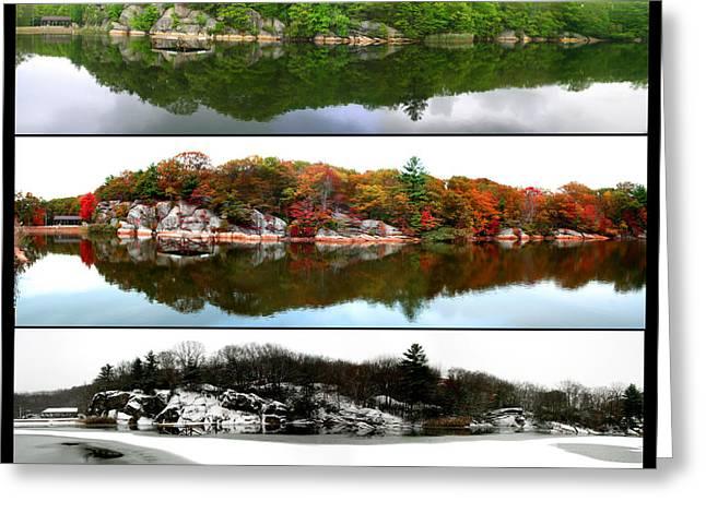New England Snow Scene Greeting Cards - Three Seasons Greeting Card by Nathan Ko