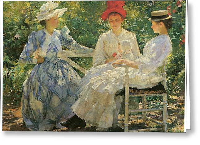 Woman In A Dress Greeting Cards - Three Sisters Greeting Card by Edmund Charles Tarbell