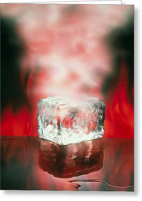 Solid State Greeting Cards - Three States Of Matter, Ice, Water, Steam Greeting Card by Mehau Kulyk