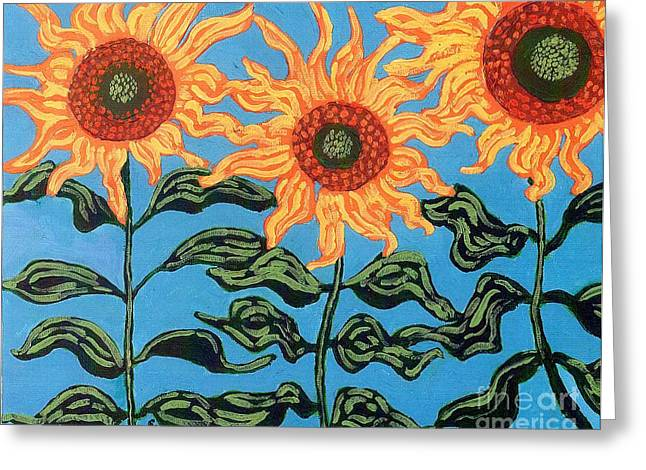 Power Plants Paintings Greeting Cards - Three Sunflowers III Greeting Card by Genevieve Esson