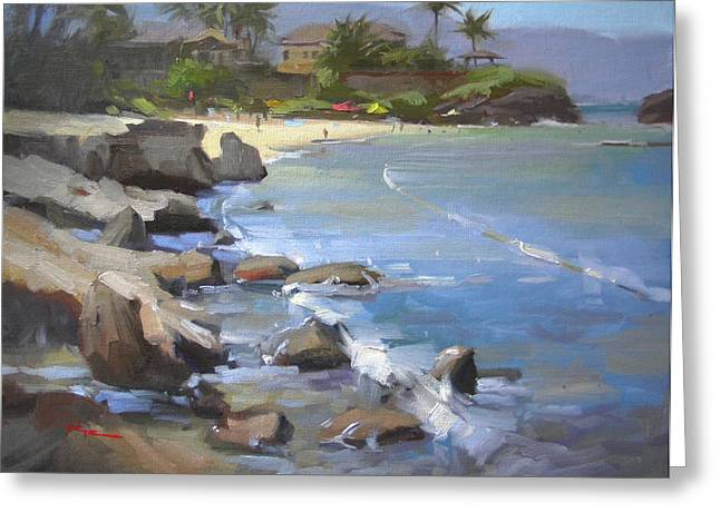 Haleiwa Greeting Cards - Three Tables Beach Greeting Card by Richard Robinson
