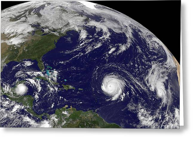 Planet Earth Greeting Cards - Three Tropical Cyclones Active Greeting Card by Stocktrek Images