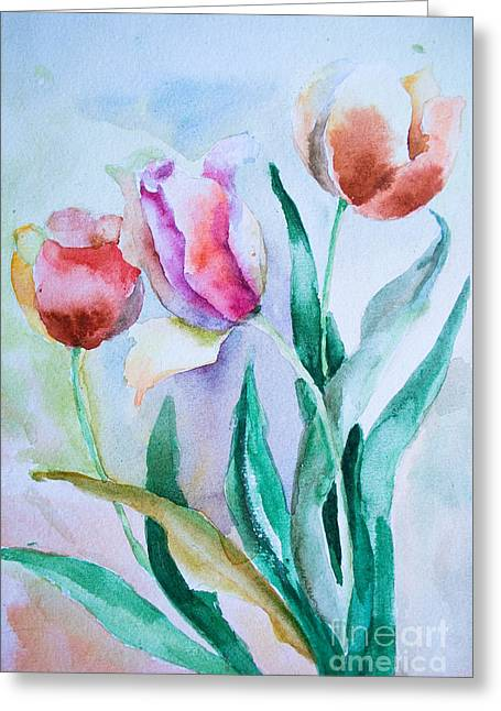 Stamen Paintings Greeting Cards - Three tulips Greeting Card by Regina Jershova