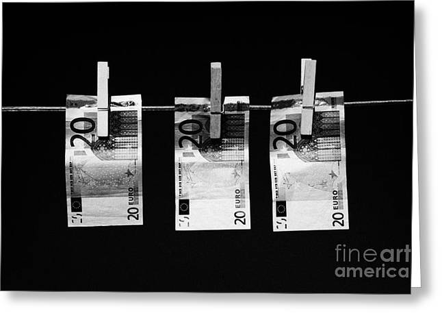 Inflation Greeting Cards - Three Twenty Euro Banknotes Hanging On A Washing Line With Blue Sky Greeting Card by Joe Fox