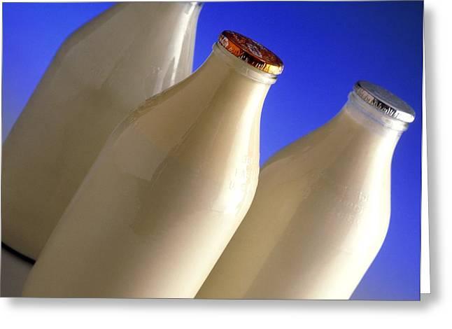Three Types Of Bottled Milk Greeting Card by Steve Horrell